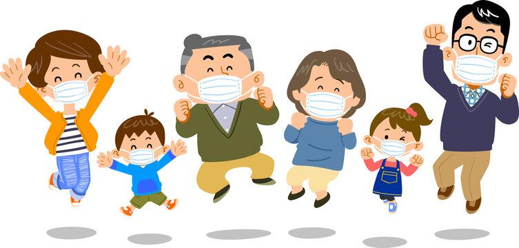 マスクをつけたジャンプする三世代家族 シニア中心