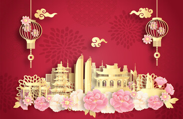 Fototapete - Xiamen, China with world famous landmarks and beautiful Chinese lantern in paper cut style vector illustration