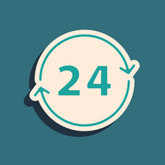 Fototapeta Green Clock 24 hours icon isolated on green background. All day cyclic icon. 24 hours service symbol. Long shadow style. Vector. obraz