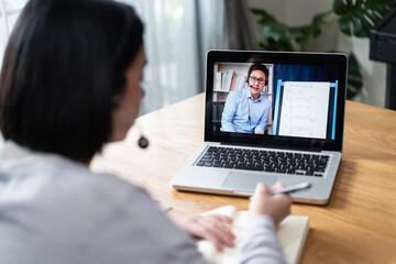 Obraz Homeschool Caucasian girl learning online class by video conference. - fototapety do salonu