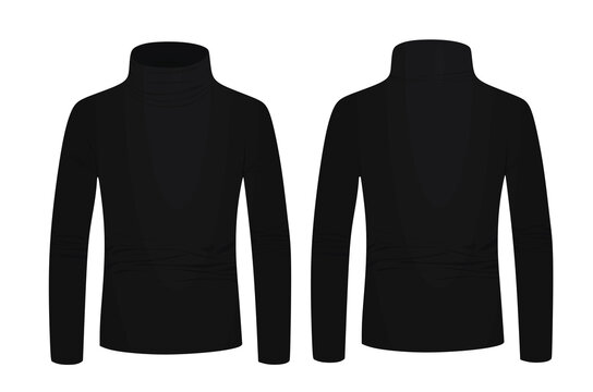 Black turtle neck long sleeve t shirt. vector illustration