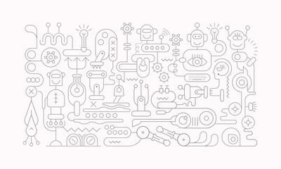 Dark line art isolated on a white background  Artificial Intelligence vector illustration. Thin lines silhouette of robots, computer network equipment and electronic devices.