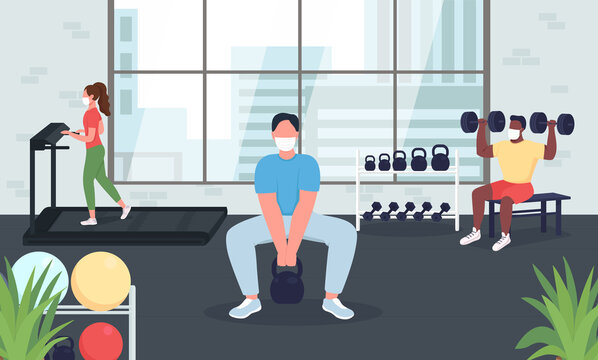 Gym during quarantine flat color vector illustration. Social distance during exercising. Women, men in medical mask. Working out 2D cartoon characters with modern interior on background