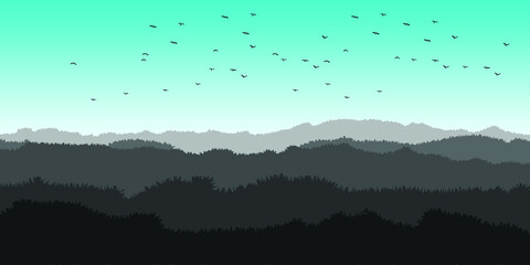 Beautiful dark blue mountain landscape with fog and forest. sunrise and sunset in mountains. Vector illustration