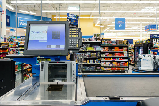 WILLIAMSBURG, VA, USA - CIRCA AUGUST 2015: Empty till in a Walmart supermarket