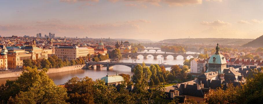 Beautiful sunset over Prague from Letenske sady, The capital of Czech Republic