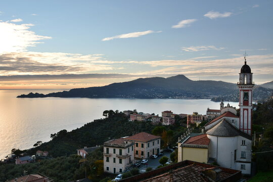 Portofino promontory as seen from Sant'Andrea di Rovereto. Tigullio gulf. Liguria. Italy