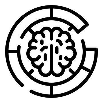 Brain maze icon. Outline brain maze vector icon for web design isolated on white background