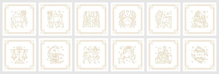 Obraz Zodiac astrology horoscope signs linear design vector illustrations set - fototapety do salonu
