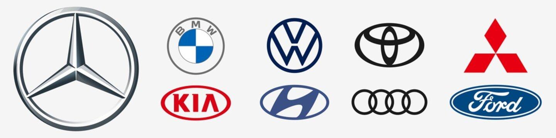 Auto logo. Mercedes, bwm, vw, toyota, mitsubishi, kia, audi, hyundai, ford. Mercedes-benz logo. BWM icon. Editorial famous auto brand. Modern and Toyota logo. Rivne, Ukraine - December 17, 2020.