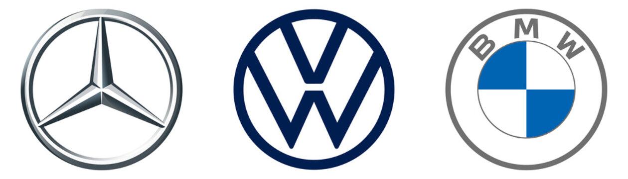Mercedes, vw, bwm, Mercedes-benz and icon. Auto logo. Editorial vector illustration. German auto concern. BMW modern logo. Rivne, Ukraine - December 17, 2020.
