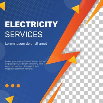 Electrician flyer square template. - Vector.