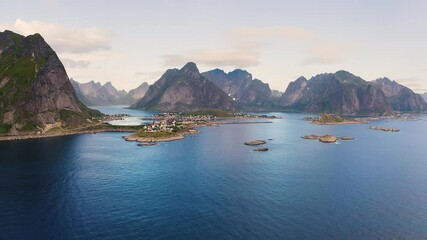 Wall Mural - Aerial view of Reine village with mountains and fjords on Lofoten islands