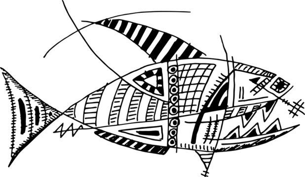 Abstract Cartoon Doodle of a Fish Marine Life