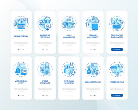 Safe, healthful workplace for workers onboarding mobile app page screen with concepts set. Workstation design walkthrough 5 steps graphic instructions. UI vector template with RGB color illustrations