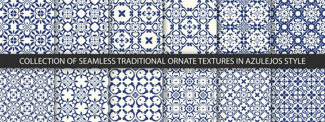 Set of Indigo blue flower azulejos lisbon patterns. Floor tile oriental spain collection seamless textures. Portugal geometric ceramics. Vector arabesque Textures