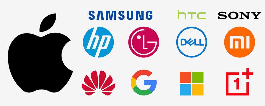 Apple, samsung, htc, sony, hp, lg, dell, xiaomi, huawei, google, pixel, microsoft, oneplus. Smartphone logo. Computer brand company. Editorial vector. Rivne, Ukraine - December 17, 2020.