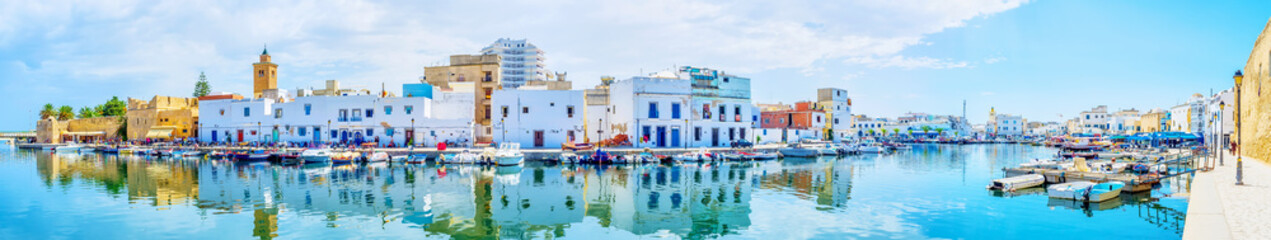 The large panorama of old fishing port of Bizerte, Tunisia