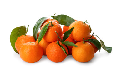 Fresh ripe tangerines with green leaves on white background Wall mural