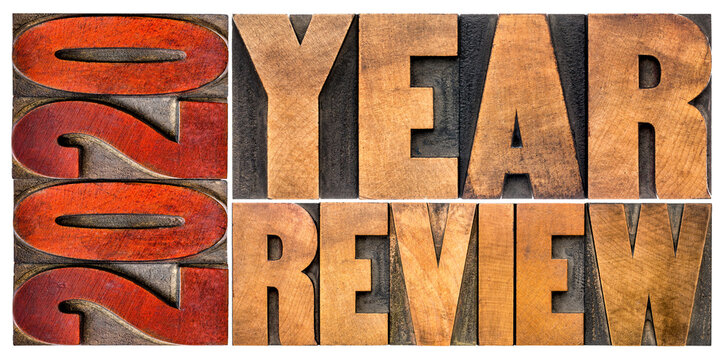 2020 year review banner - annual report, review or summary of the recent year - isolated word abstract in vintage letterpress wood type blocks