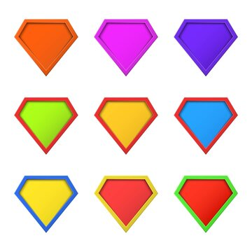 Set of colorful, different Super hero logo concept. Blank super hero badge icon. Shield symbol. Template for your design.