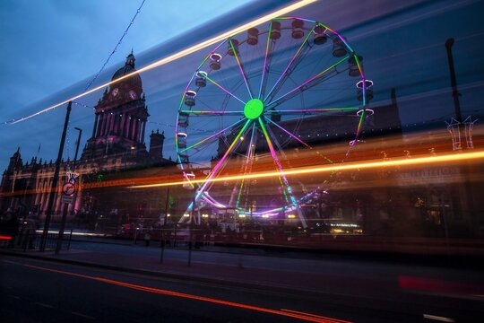 Wheel and Leeds Town Hall before Christmas 2018. Great Britain.
