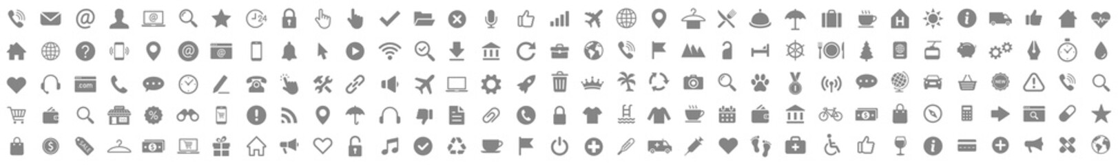 Icons set. Business Shopping Finance Tourism Web icons collection. Vector