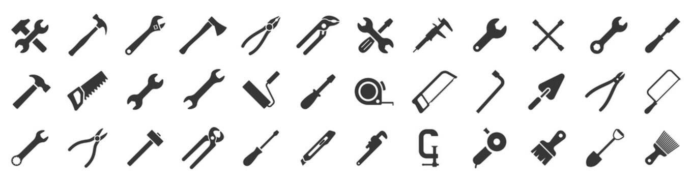 Tools icons set. Instruments signs collection. Tool simple icon. Vector