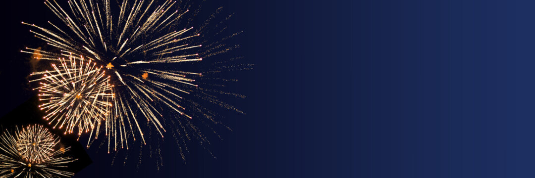 Blue Happy New Year background with golden fireworks