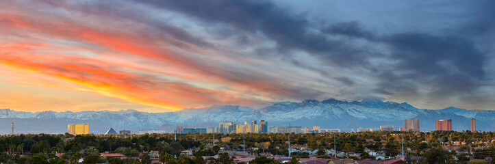 Las Vegas skyline with snow capped mountain in winter