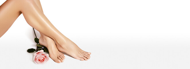 Beautiful legs after depilation. Healthcare, foot care, rutine treatment. Spa and epilation. Sexy shape of womans body