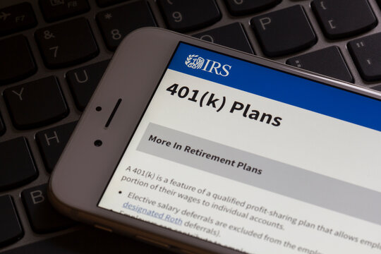 Portland, OR, USA - Dec 17, 2020: The 401(k) plans page on the Internal Revenue Service (IRS) website is seen on an iPhone. A 401(k) plan is an employer-sponsored defined-contribution pension account.