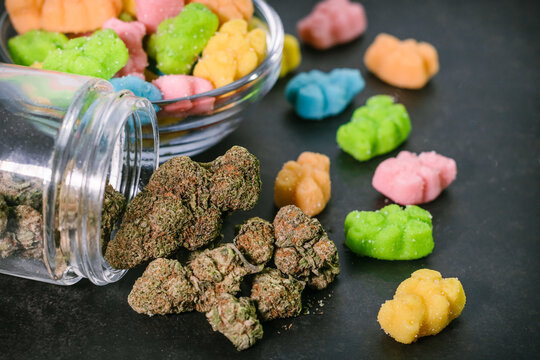 Medicated Cannabis Infused Gummy Candy Bear Shapes Marijuana Flower