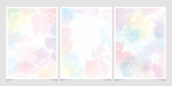 rainbow pastel unicorn candy watercolor background for wedding invitation card collection