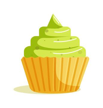 Matcha green tea cupcake muffin dessert isolated on white