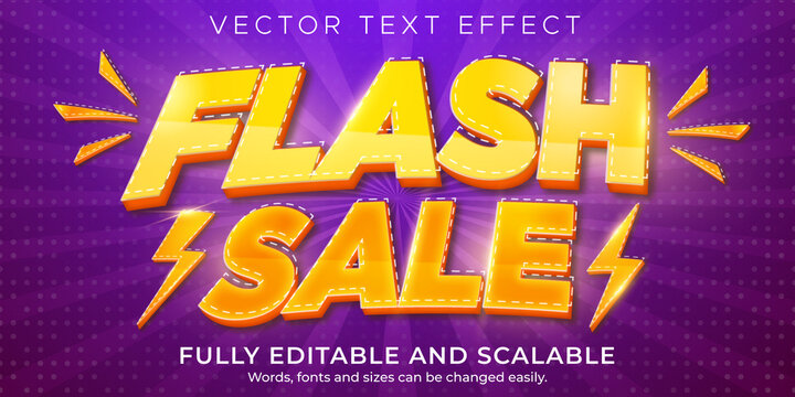 Flash Sale text effect, editable discount and offer text style