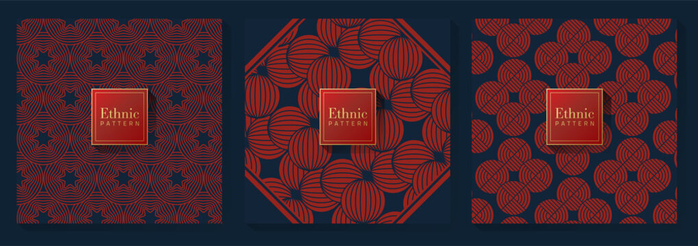 Red and Blue Chinese Pattern