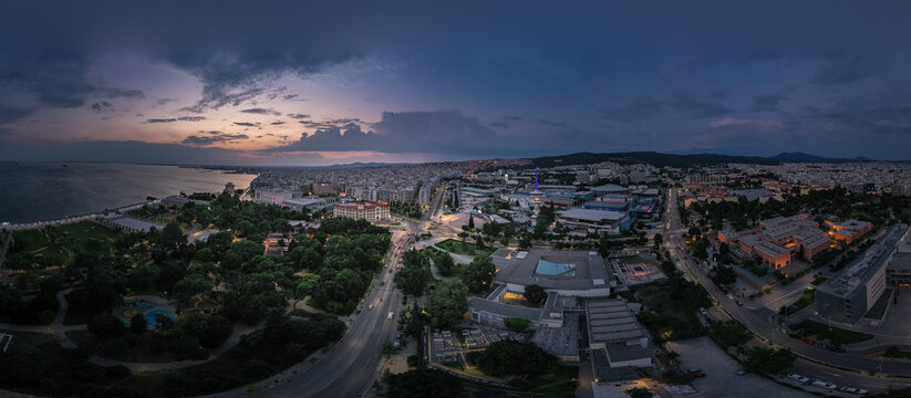 Panoramic view of Thessaloniki at twilight. Greece