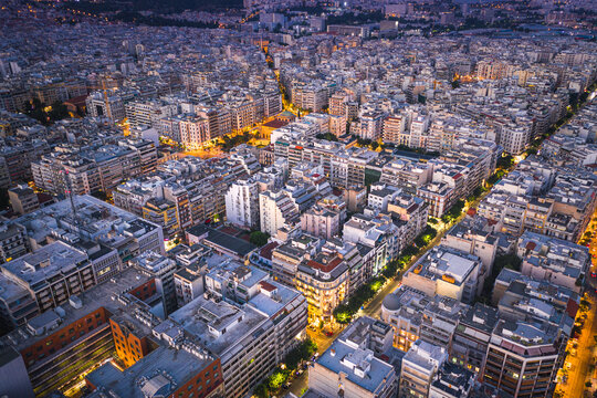 Thessaloniki at sunset cityscape, Greece..
