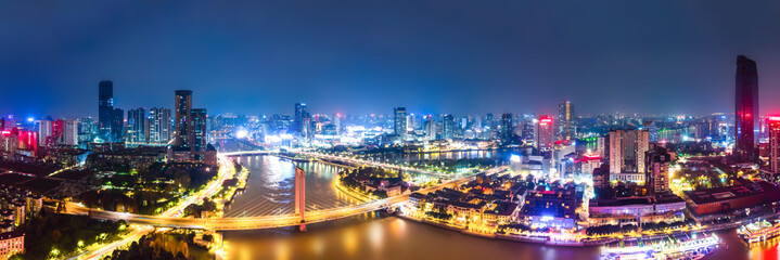 Fototapeta Aerial photography of Ningbo city architecture landscape night view