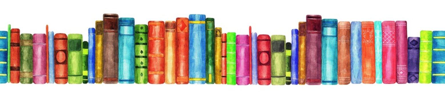Books. Seamless patern. Watercolor (2)