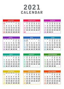 2021 Calendar, Colorful Calendar 2021 year set, Week Starts Sunday. Colorful year 2021 calendar isolated on white background. Week starts Sunday. Vector template