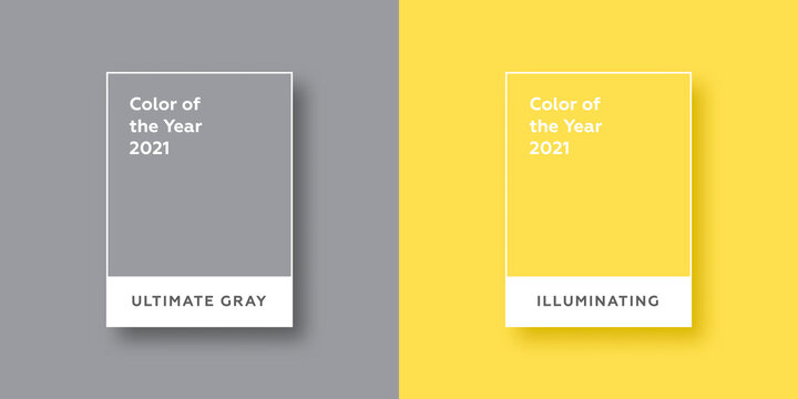 Color Of The Year 2021. Ultimate Gray. Illuminating. Vector illustration