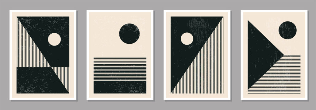 Set of minimal 20s geometric design posters, vector template