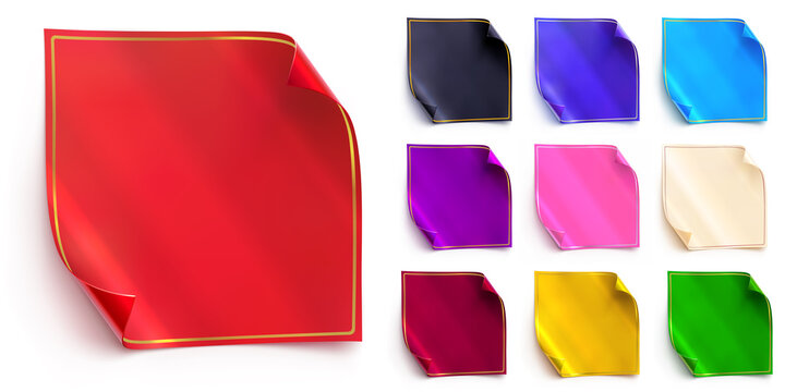 Vector set of square foil stickers with a folded corners and thin golden frame. Red, black, deep blue and light blue colors. Purple, pink, white, gold and green shades. Realistic web banners or tags.
