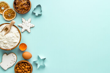 Food pattern with icing gingerbread cookies for Christmas, overhead view