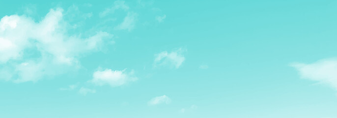 Realistic cloud and sky vector graphic image. background, web banner, web header, footer, flier, blue, green, sky, sunny, frame, copy space, vector illustration, copy space, blank, landscape,