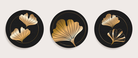 Golden Ginkgo leaves wall arts background vector. Luxury Floral art deco. Gold natural pattern design Vector illustration. Wall mural
