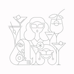 Young women at cocktail party vector illustration. Line art silhouettes of three women and cocktail glasses isolated on a white background.