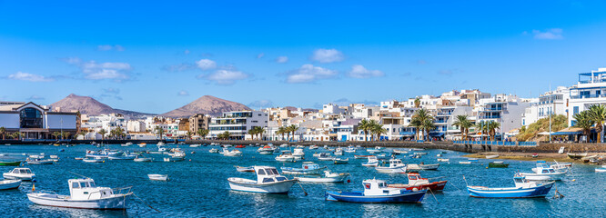 Wall Mural - Landscape with Arrecife, capital of Lanzarote, Canary Islands, Spain
